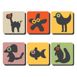 Animals icons. Whit orange, brown, yellow Vector Illustration