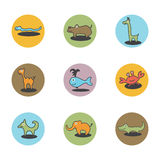 Animals icons. Animals color icons, nine variants vector illustration