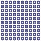 100 animals icons hexagon purple Stock Image