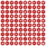 100 animals icons hexagon red. 100 animals icons set in red hexagon isolated vector illustration Vector Illustration