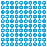 100 animals icons set blue. 100 animals icons set in blue hexagon isolated vector illustration Royalty Free Stock Photos
