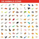 100 animals icons set, isometric 3d style. 100 animals icons set in isometric 3d style for any design illustration royalty free illustration