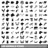 100 animals icons set in simple style Royalty Free Stock Images
