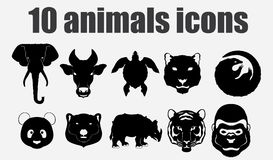 10 animals icons. Vector illustration, EPS 10 Royalty Free Stock Photography