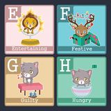 Animals illustrating adjectives - EFGH. Cute animals illustrating adjectives - EFGH Stock Photos