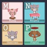 Animals illustrating adjectives - MNOP. Cute animals illustrating adjectives - MNOP Royalty Free Stock Photos
