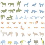 Animals illustrations. Lots of lillustrations of wild,domestic animals and birds and fish Stock Photography