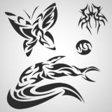 Animals and insects pattern tribal set tattoo vector illustration