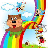 Animals and insects ride on rainbow Royalty Free Stock Image