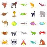 Animals of the jungle icons set, cartoon style. Animals of the jungle icons set. Cartoon set of 25 animals of the jungle vector icons for web isolated on white Stock Image