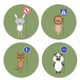 Animals kept signs of traffic rules Royalty Free Stock Photo