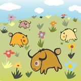 Animals on landscape. Wild Animals on landscape with flowers Stock Images