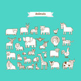Animals Line Art Vector Icons. Animals Line Art Vector white Icons on blue background Royalty Free Stock Photos