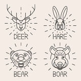 Animals line logo Set Nature Symbol Deer Bear Hare Stock Photography