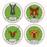 Animals line logo Set Nature Symbol Deer Bear Hare Stock Photo