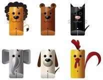 Animals - lion, bear, cat, elephant, dog, chicken Royalty Free Stock Photo