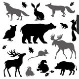 Animals living in european forest. Vector icon set of silhouette vector illustration
