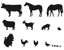 Animals living on the farm. Silhouettes of animals living on the farm, white background vector illustration