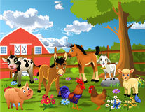 Animals living at the farm. Vector cartoon illustration of a farm with many cute animals with the barn seen in the background Royalty Free Stock Image
