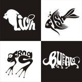 Animals logo buffalo, lion, frog, fish Stock Photo