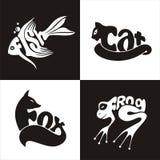 Animals logo frog, fish, cat, fox Royalty Free Stock Images