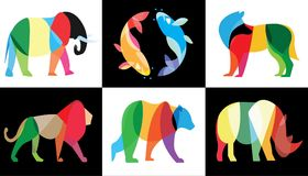 Animals logo and wallpaper design. Animals logos using illustration by wight and black background royalty free illustration