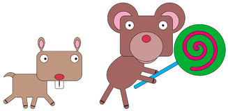 Animals and lollipop Stock Photo