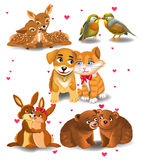 Animals in love. Cartoon animals in love  on a white background Stock Image