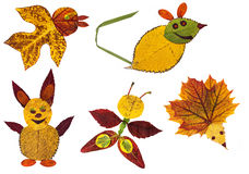 Animals made from the autumn leaves Stock Photography