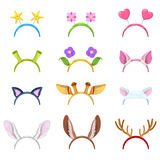 Animals Mask Collection with Isolated Ears Stock Photos
