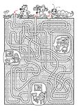Animals maze for kids in black and white Stock Photo