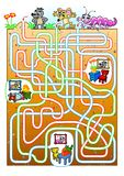 Animals maze for kids. Find a burrow for animals Stock Photography