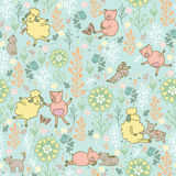 Animals in the meadow seamless pattern Royalty Free Stock Image