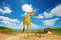 Animals migrating to green lands. Due to climate change stock photos