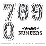 Animals mosaic numbers for t-shirts, posters, card and other uses. Trendy style vector illustration