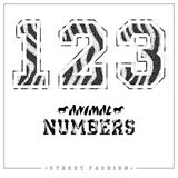 Animals mosaic numbers for t-shirts, posters, card and other uses. Royalty Free Stock Photo