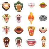 Animals mouth vector open jaw with teeth or fangs of roaring animals angry lion or cat and laughing bear with aggressive royalty free illustration