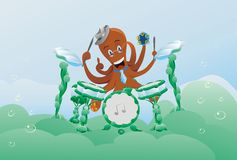 Animals music poulpe character animal underwater. Music drum arrangement bubble Royalty Free Stock Image