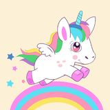 Animals And Mythical Creatures. Cute Little Magic Unicorn, Walking On The Rainbow Vector Illustration. Cute Little Magic Unicorn, Walking On The Rainbow Vector stock illustration