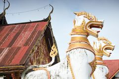Animals in mythology in front of Thai temple Royalty Free Stock Images