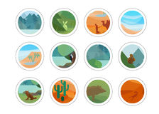 Animals and nature stickers set Royalty Free Stock Image