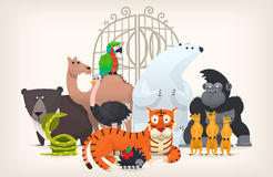 Animals near zoo gates Royalty Free Stock Photos