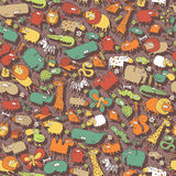 Animals and Objects Seamless Pattern Stock Photos