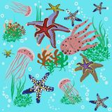 Animals of the ocean. Many animals of the blue ocean stock illustration