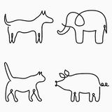 Animals one line drawing. Continuous line print - cat, dog, pig, elephant. Hand-drawn illustration for logo. Vector. Animals one line drawing. Continuous line vector illustration