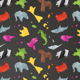 Animals origami pattern black Stock Image