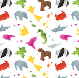 Animals origami pattern color Stock Images