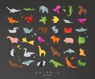 Animals origami set black Royalty Free Stock Photography