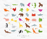 Animals origami set color Stock Photography