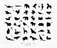 Animals origami set. Set of animals in flat style origami snake, elephant, bird, seahorse, frog, fox, mouse, butterfly, pelican, wolf, bear, rabbit crab monkey Royalty Free Stock Image